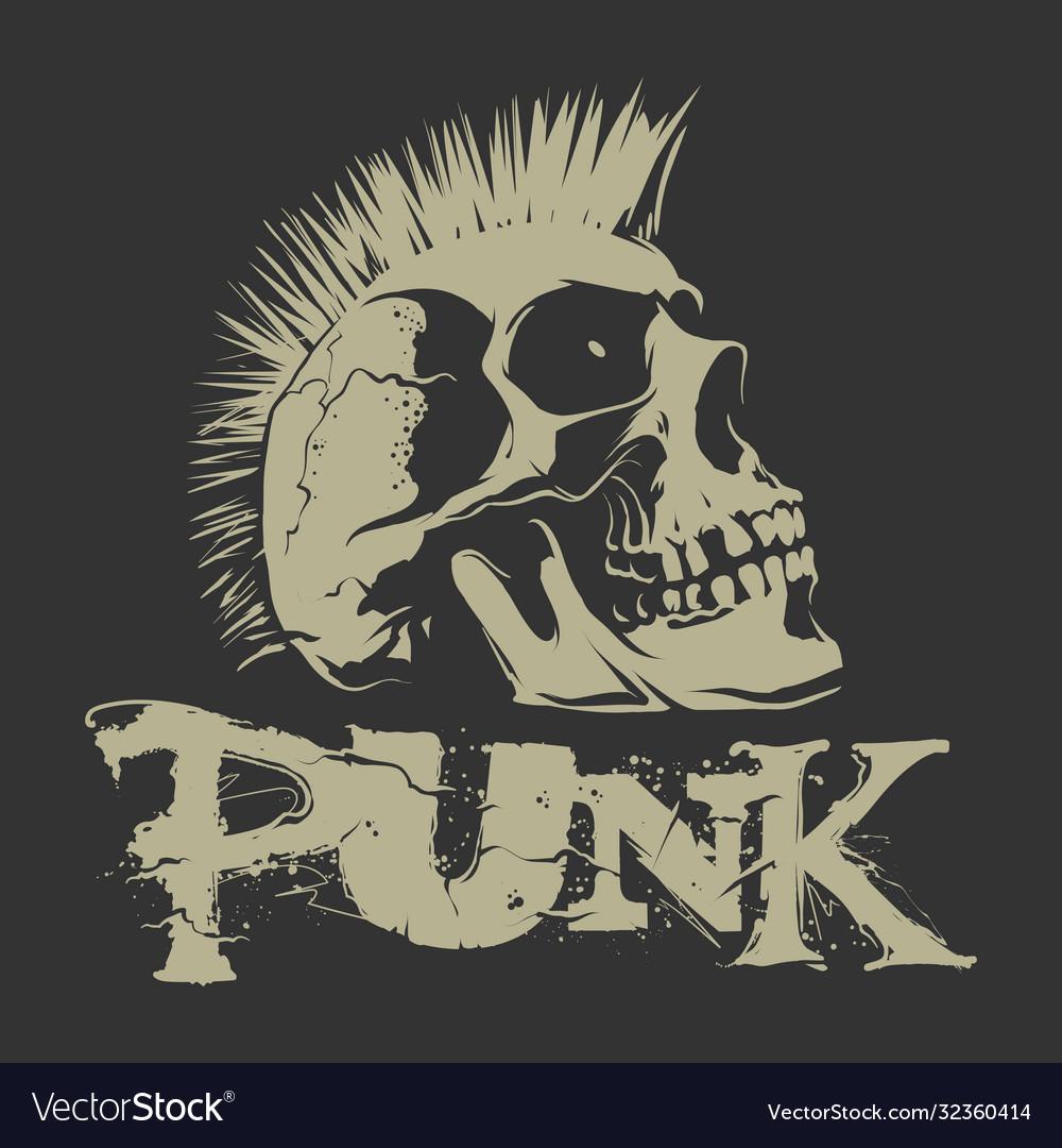 Punk skull with mohawk