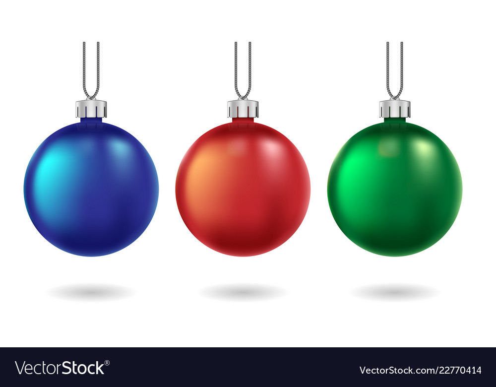 Red blue and green christmas balls isolated on