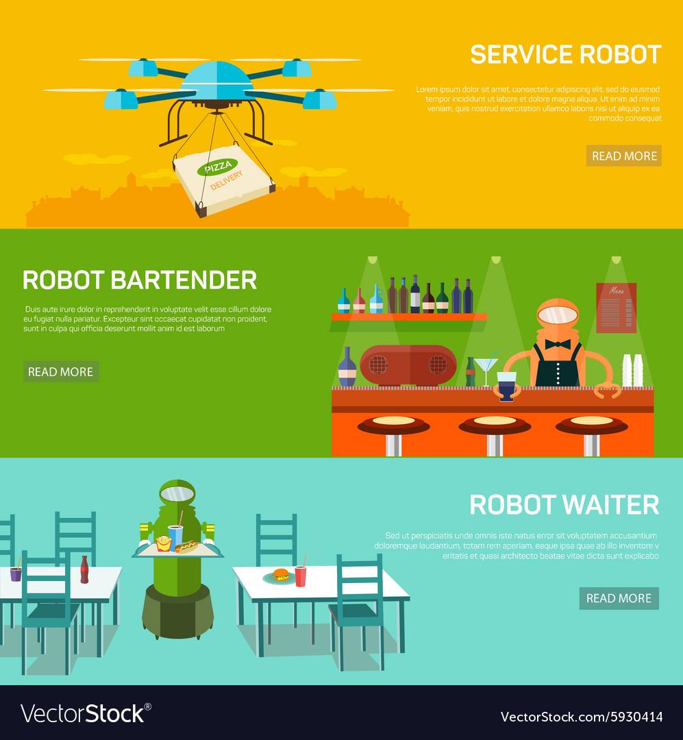 Robots design concept set with service robot vector image