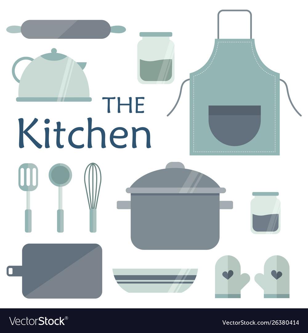 Set Kitchen Utensils In Blue Tones