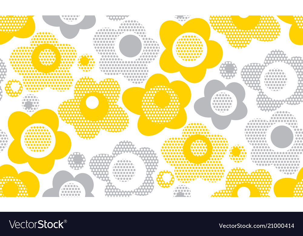 Tender gray and yellow floral seamless pattern
