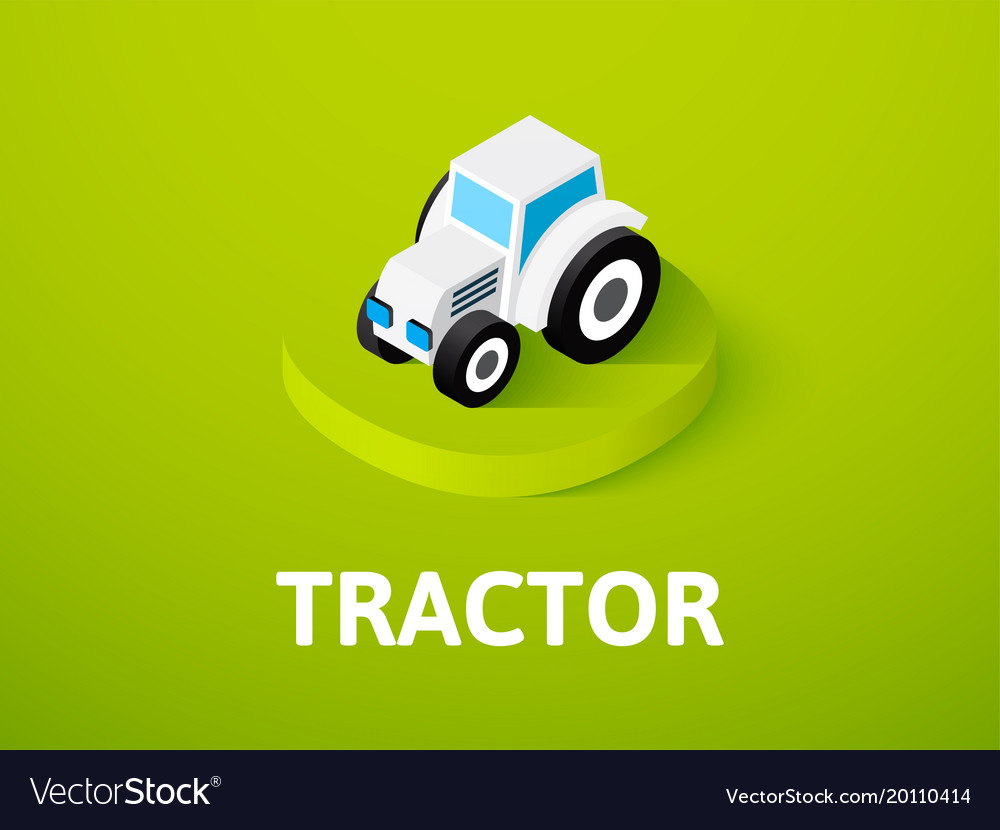 Tractor isometric icon isolated on color