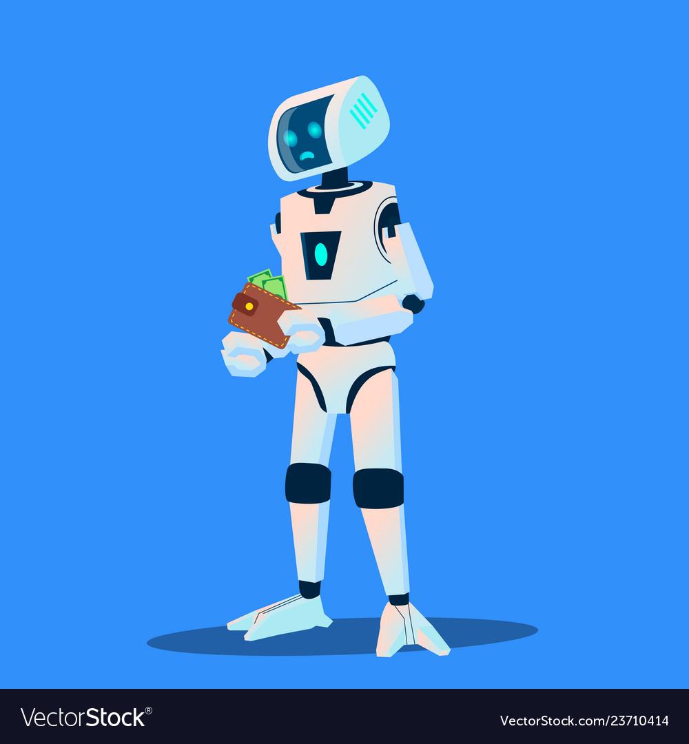 Upset robot counts money in his wallet