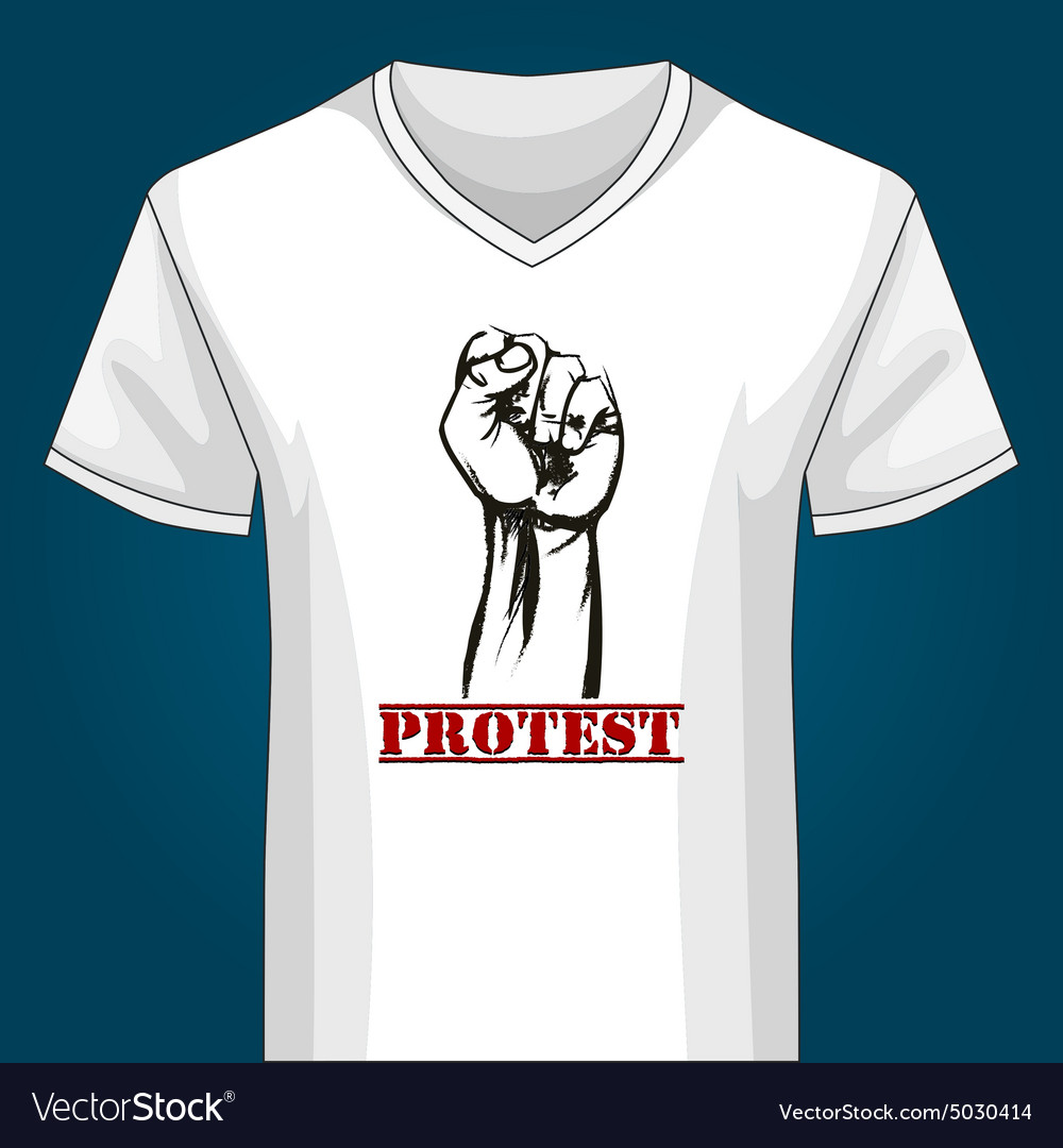 V neck Shirt Template with Protest Fist