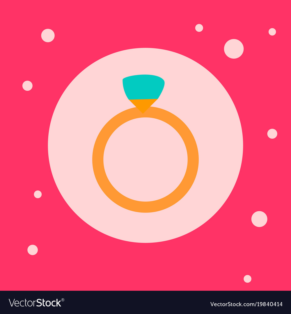Wedding ring icon on pink background Royalty Free Vector
