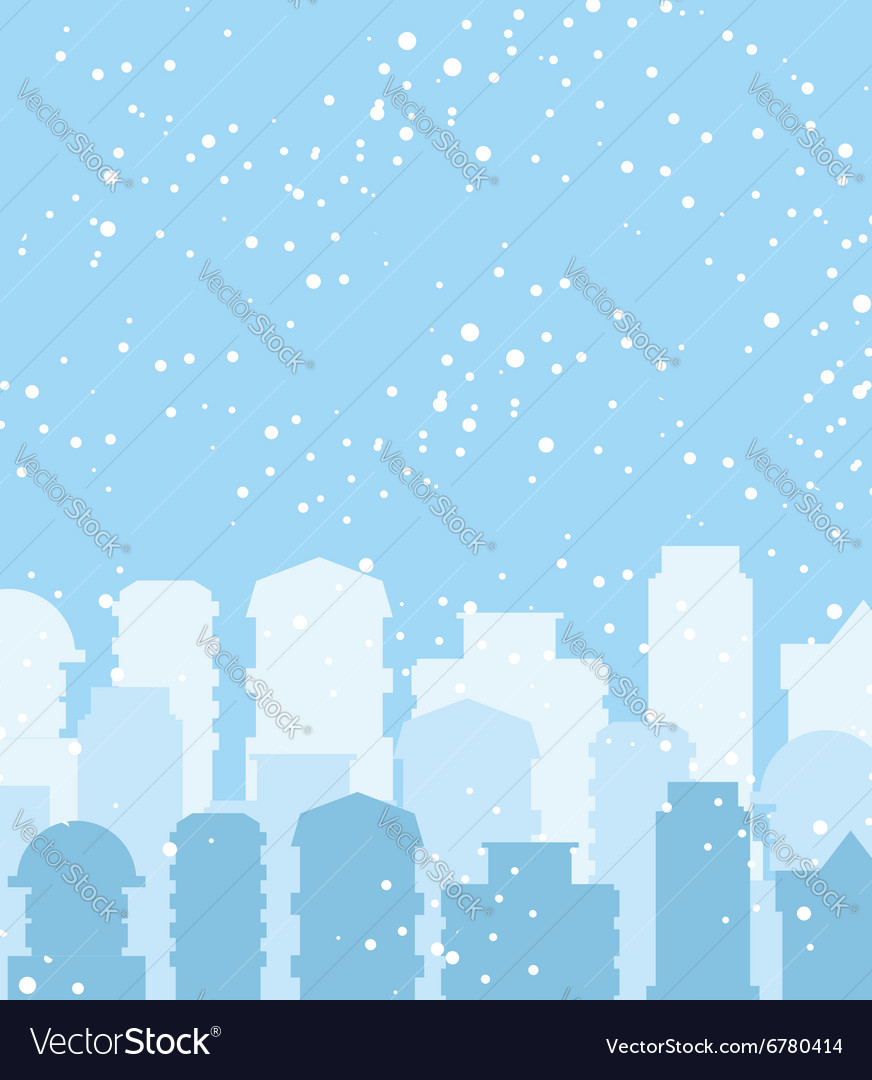 Winter city Snow falls on building Sky with