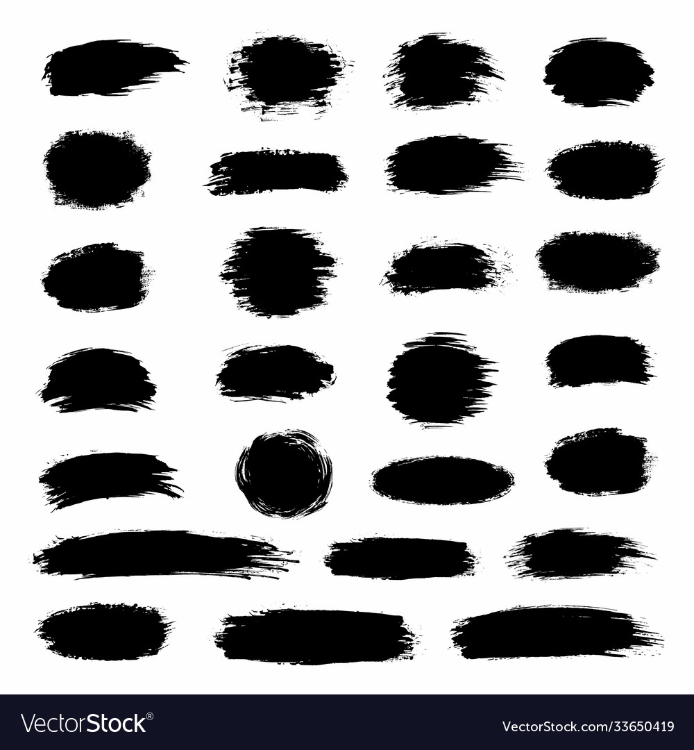 Big collection black paint ink brush strokes