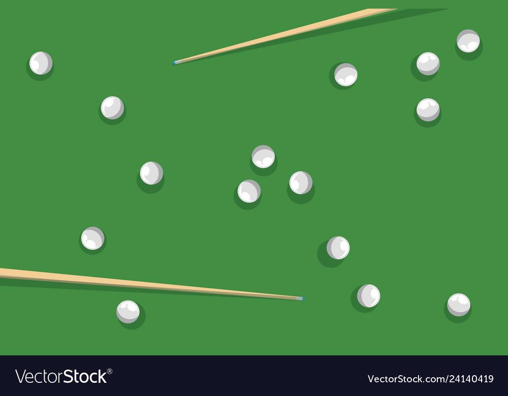 Billiard balls and pool sick on green billiard