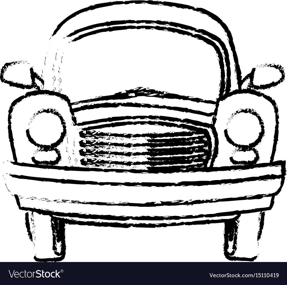 Car vintage transport travel vacation sketch