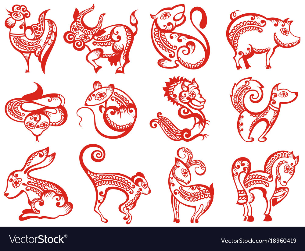 Chinese Zodiac Animals In Paper Cut Style Vector Image