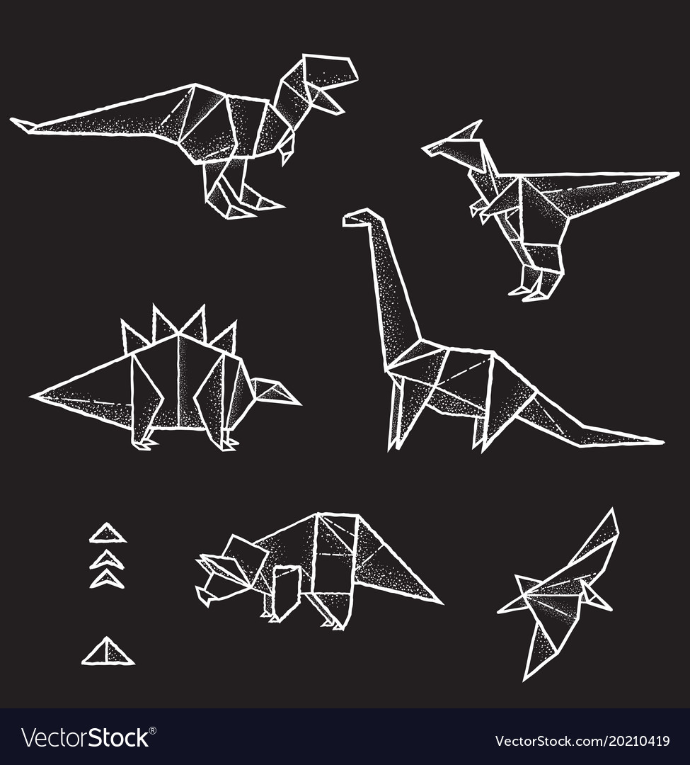 Collection of six hand drawn origami