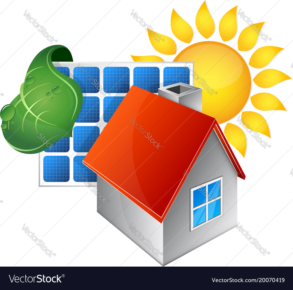 Electricity from the energy of the sun vector image