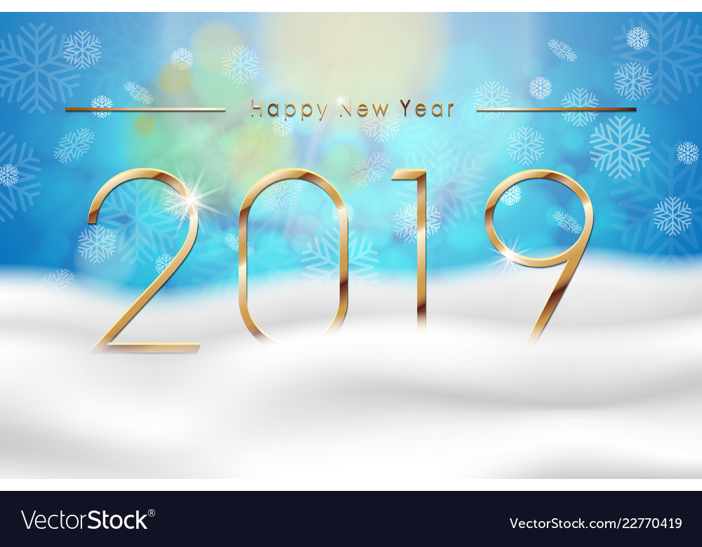 Happy new year 2019 with blue winter background