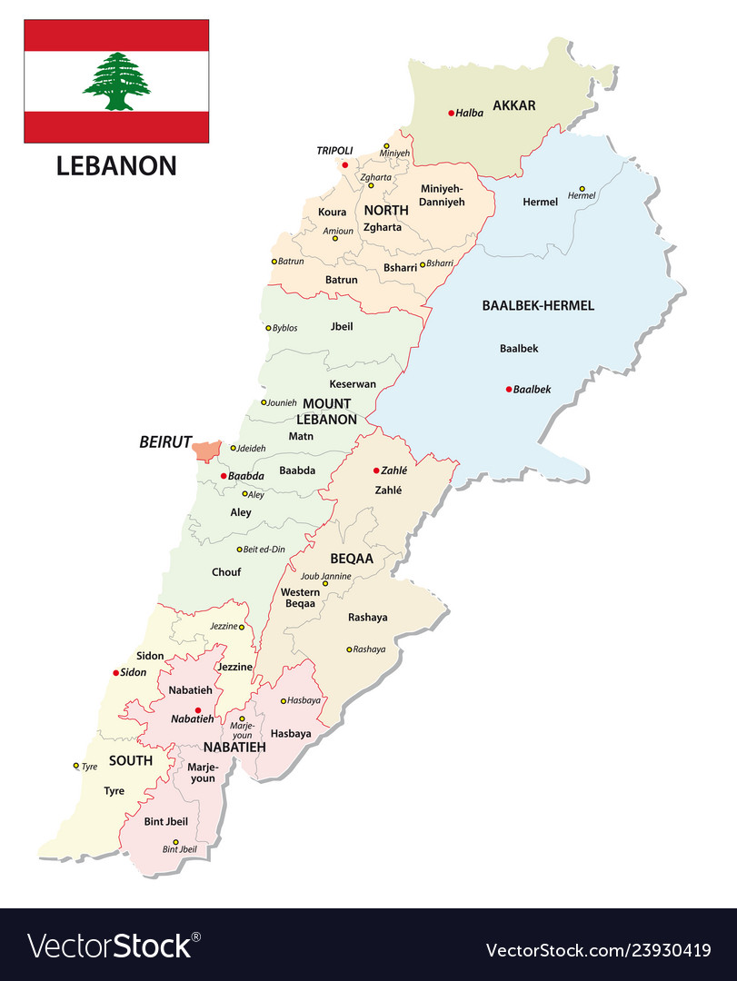 Lebanon administrative and political map