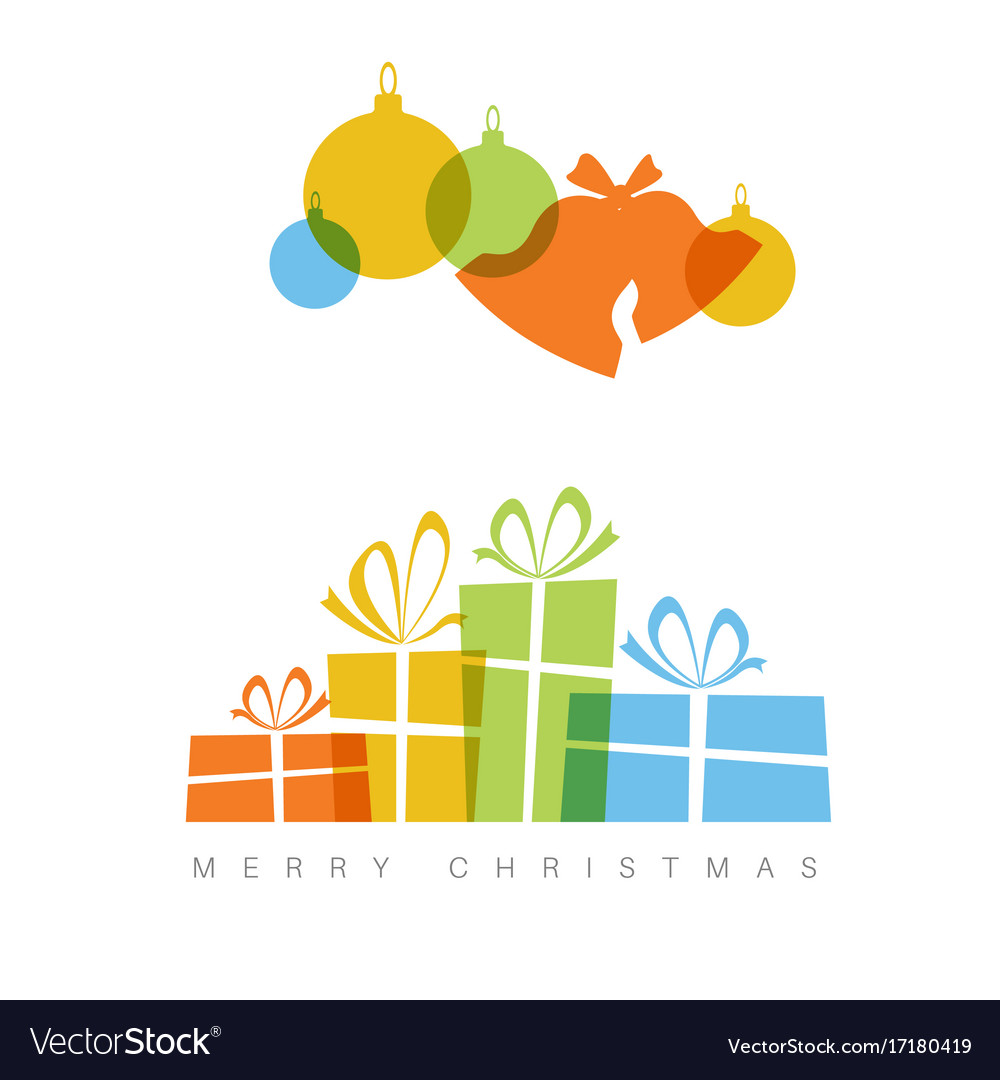 minimalist christmas card with decorations and vector image