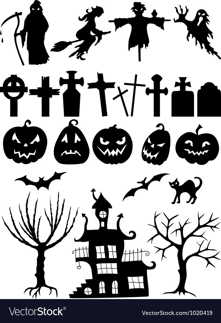set of halloween silhouettes royalty free vector image rh vectorstock com Halloween Silhouette Clip Art free halloween silhouette vector art