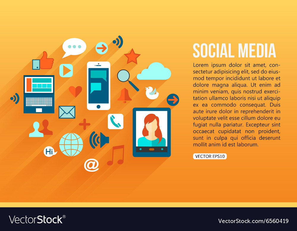 Social media concept with place for text Flat vector image