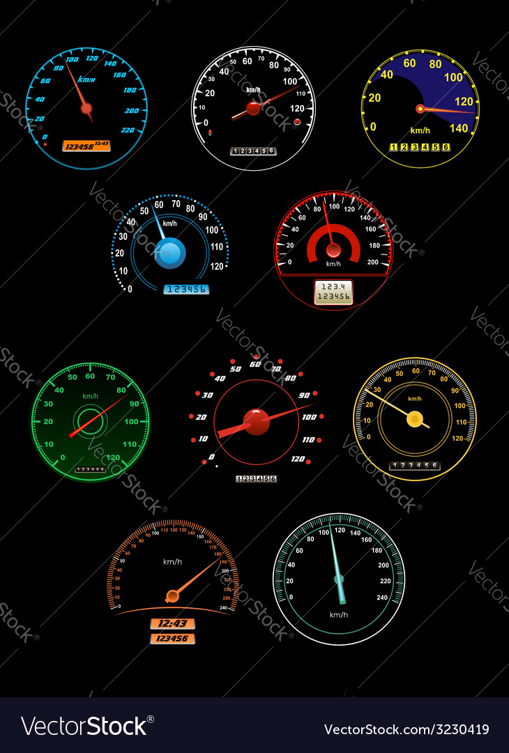 Speedometers set with dials and gauges with needle