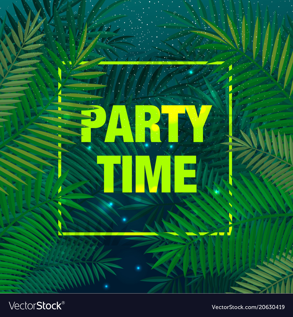 Summer party poster with palm leaf and lettering