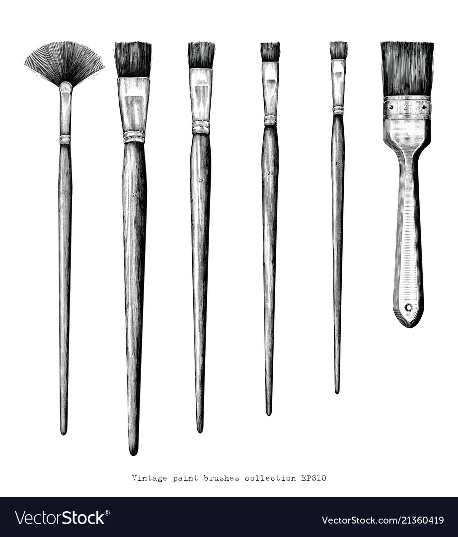 Vintage paint brushes set hand drawing clip art