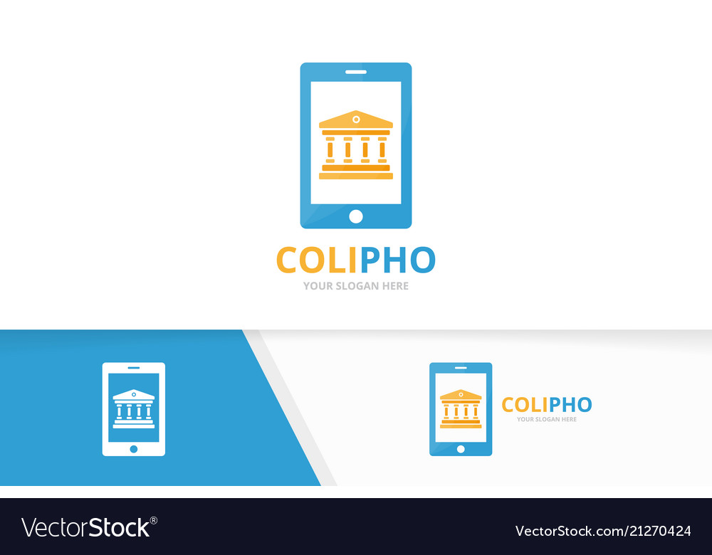 Bank and phone logo combination column and