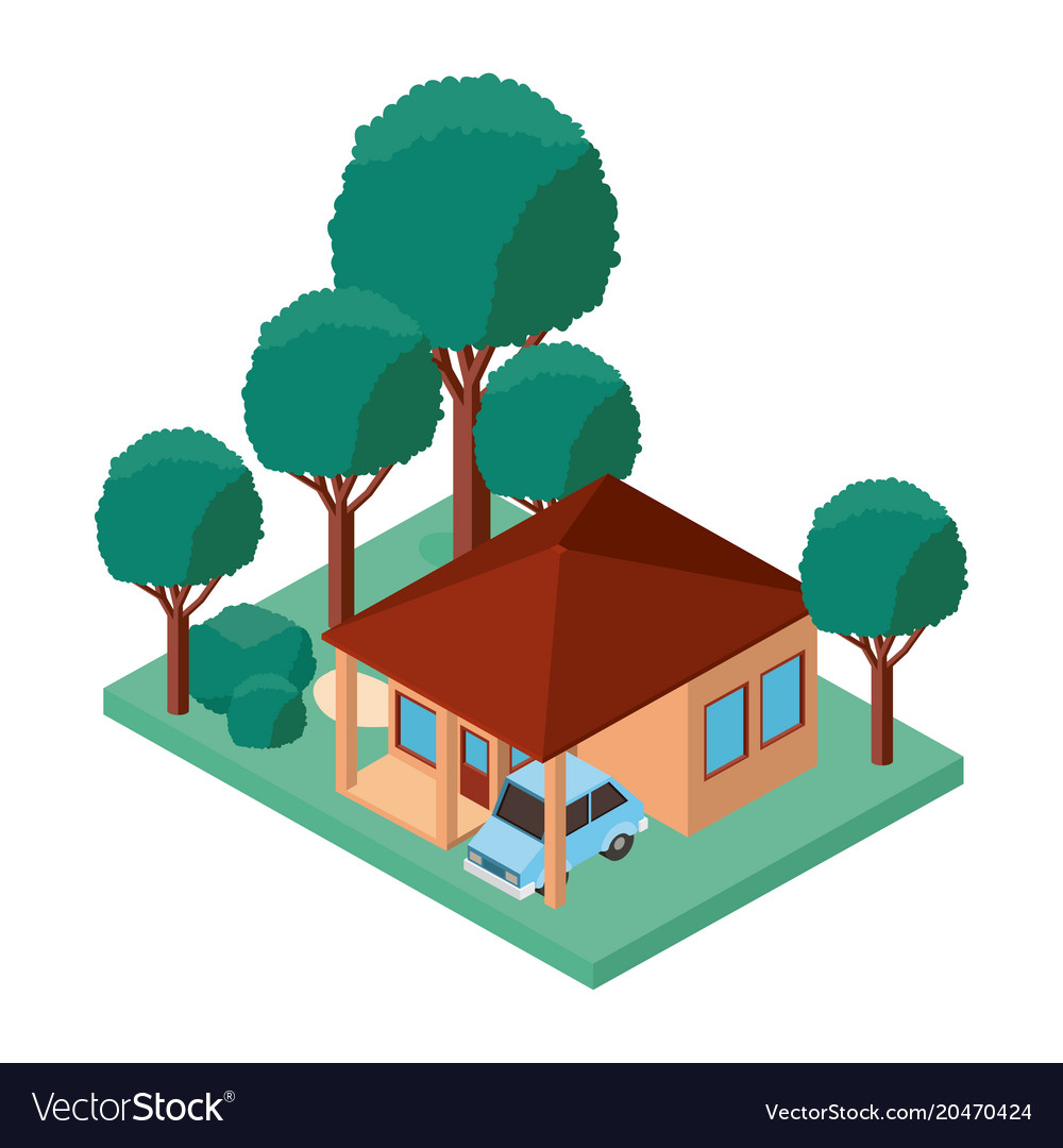 Building and car scene isometric