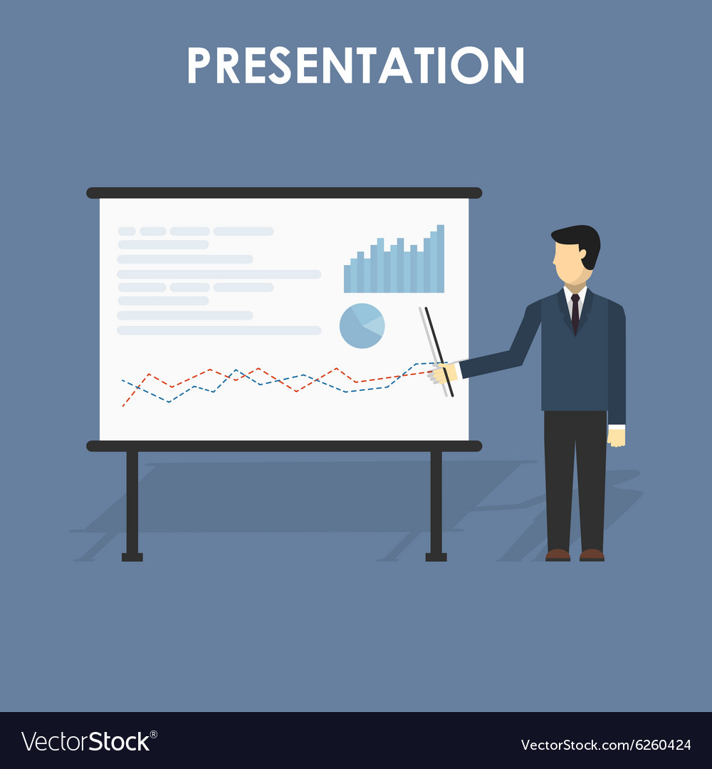 Businessman presenting vector image
