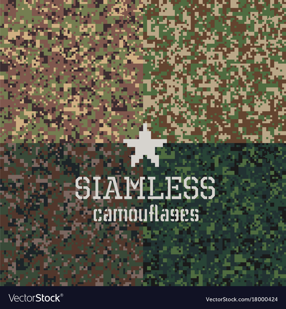 Camouflages seamless patterns set