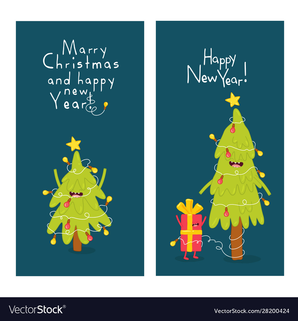 Christmas trees and giftbox are congratulated on