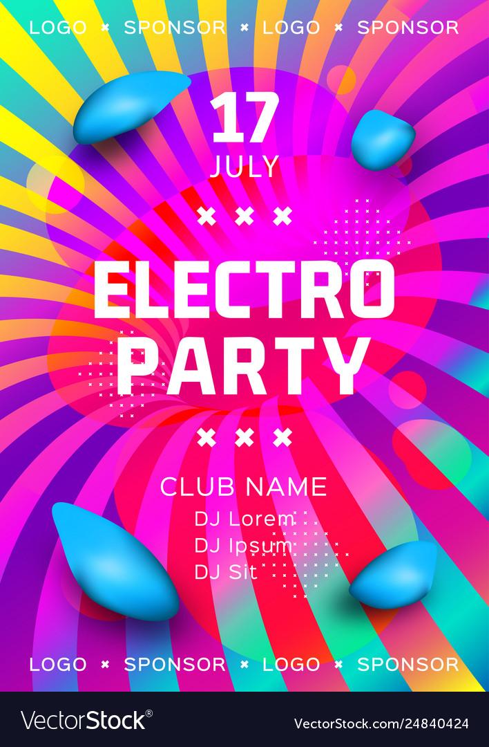 Electronic music festival poster design rainbow