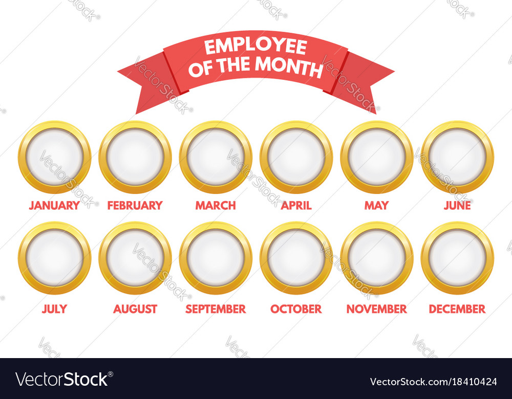 employee of the month calendar royalty free vector image