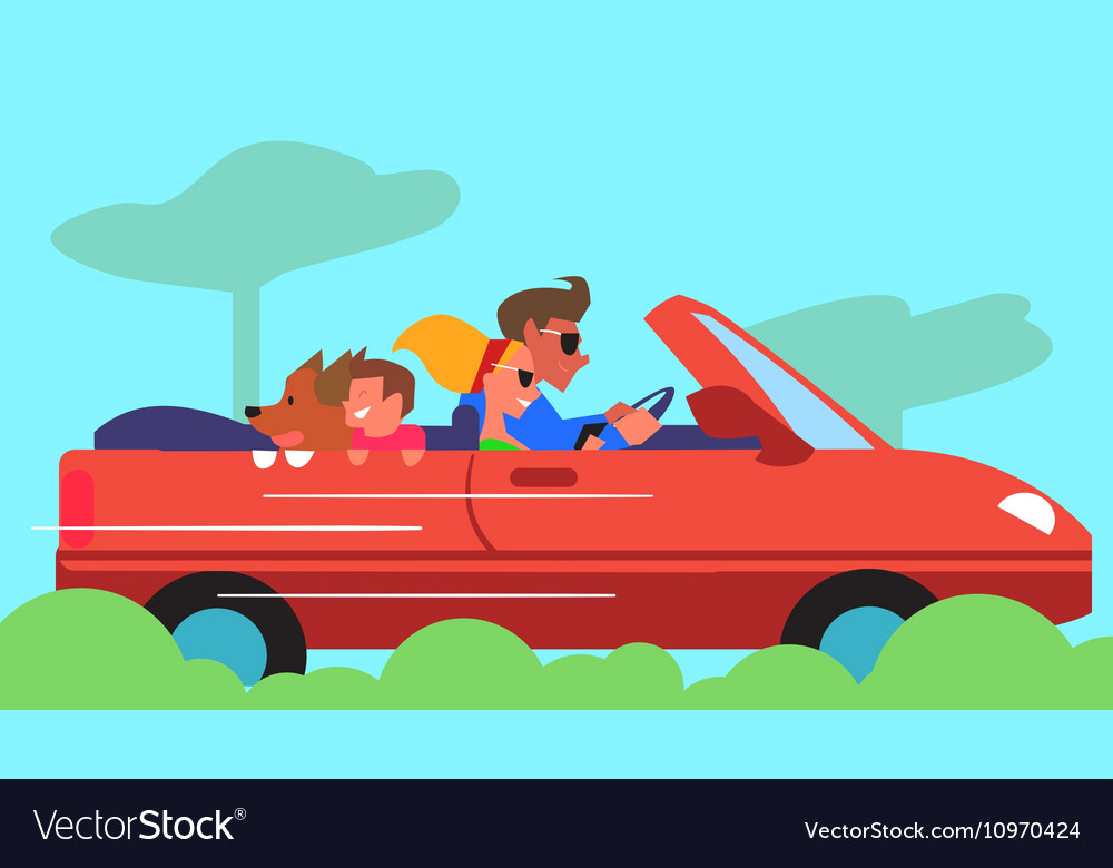 Family Car Traveling Flat Design Concept