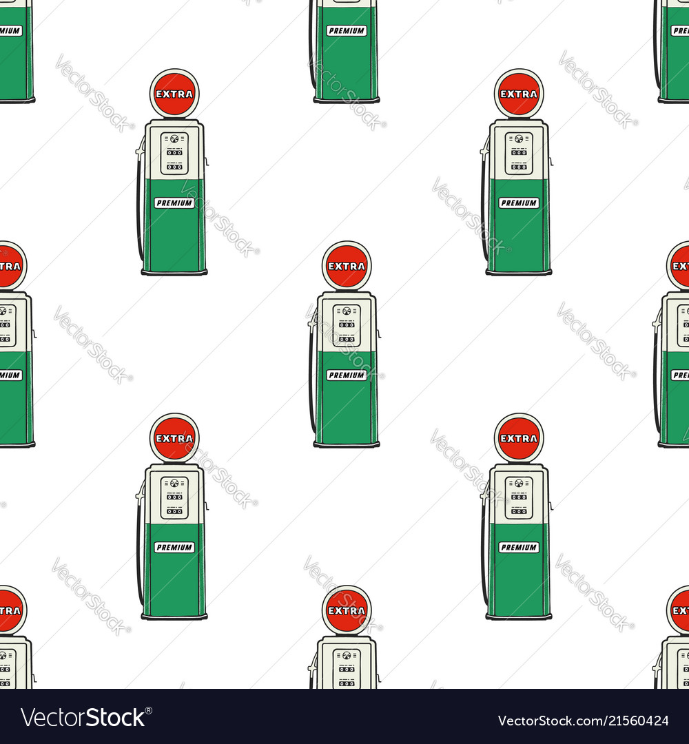 Gas station pump seamless design vintage hand