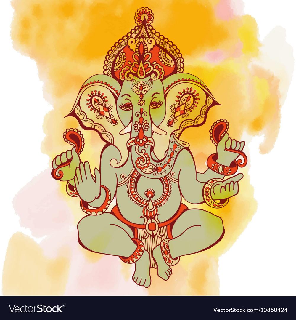 Hindu lord ganesha ornate sketch drawing on vector image
