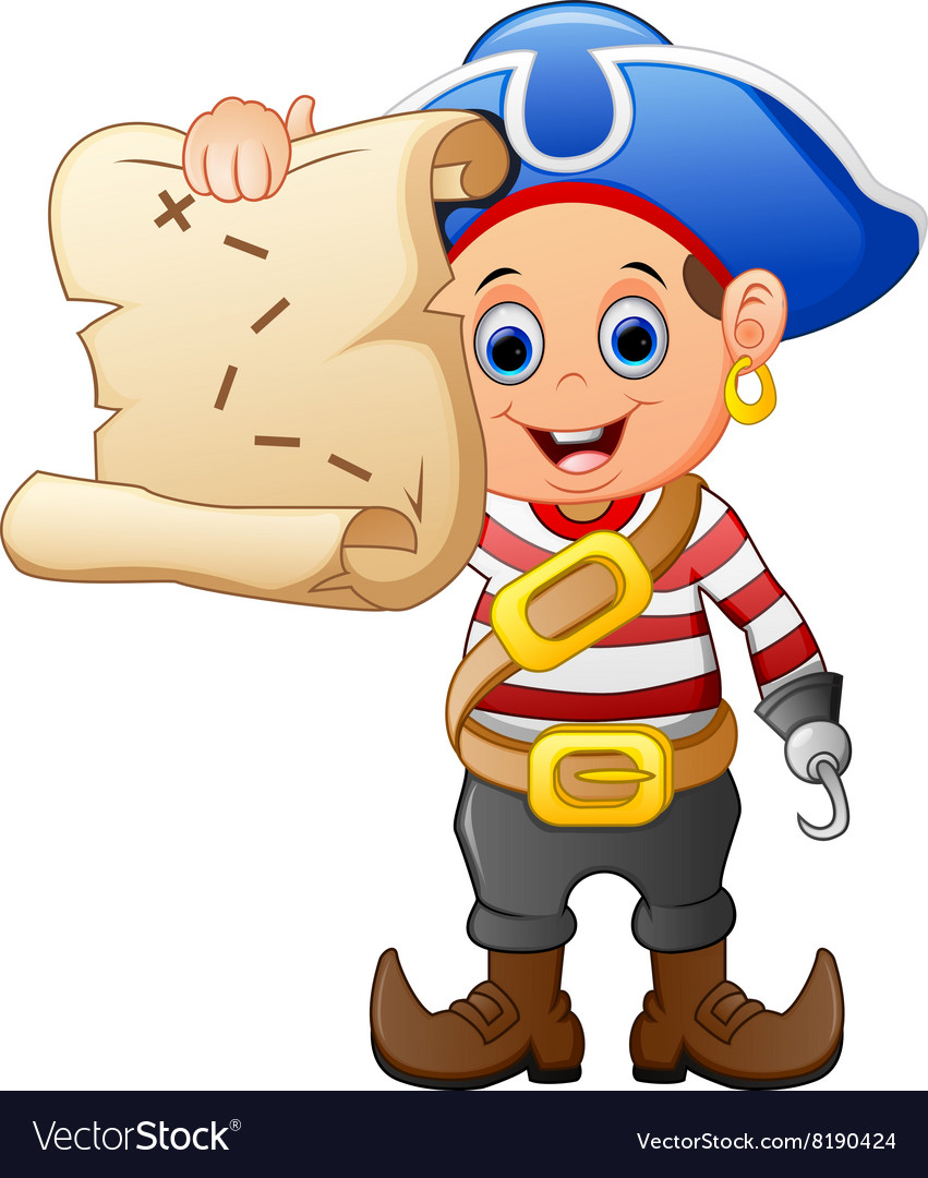 Pirate holding treasure map