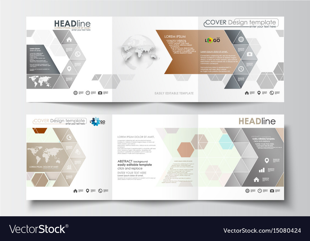 set of business templates for tri fold brochures vector image