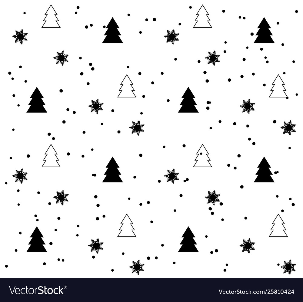 White seamless pattern with black christmas trees