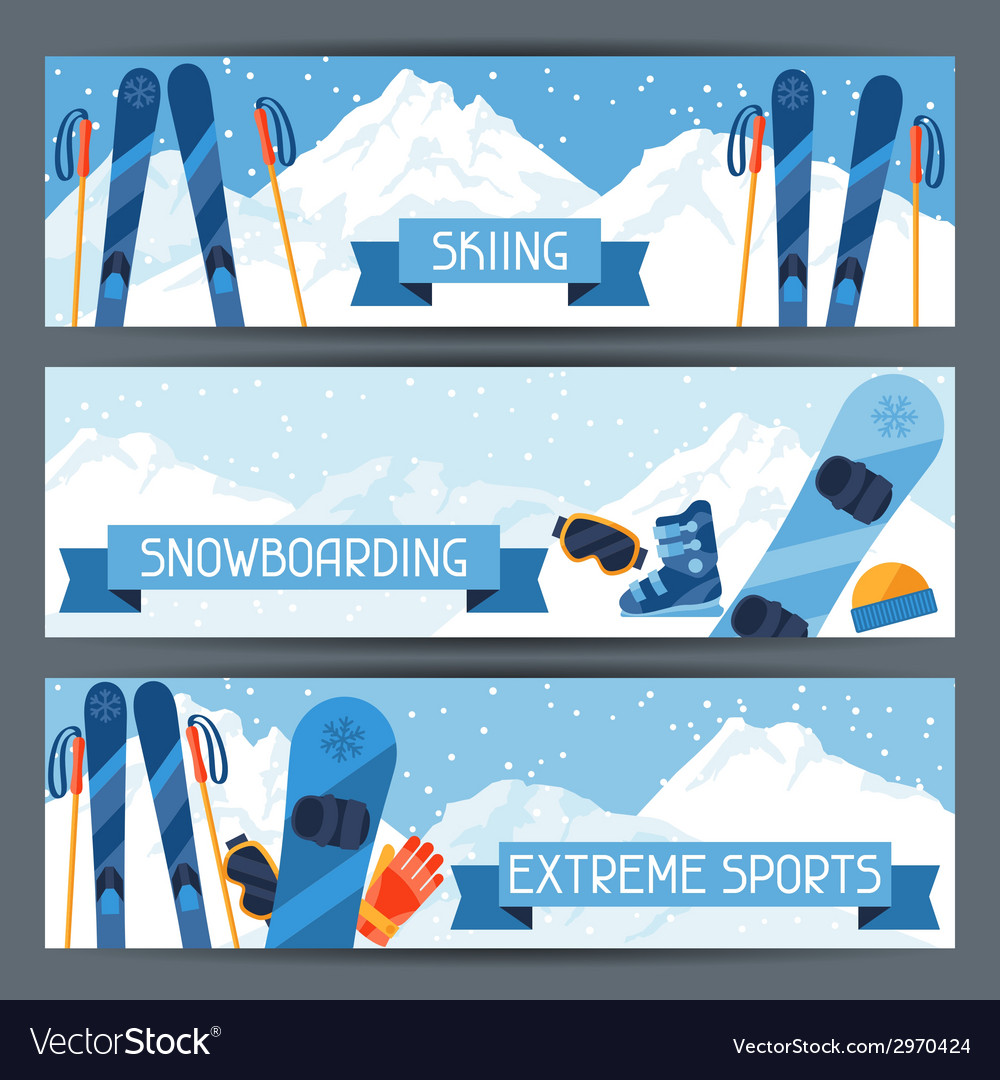 Winter extreme sports banners with mountain winter