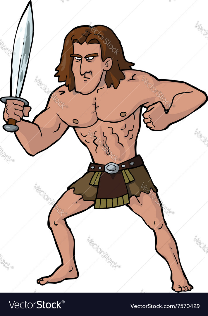 Ancient warrior with sword vector image