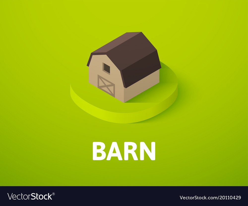 Barn isometric icon isolated on color background vector image