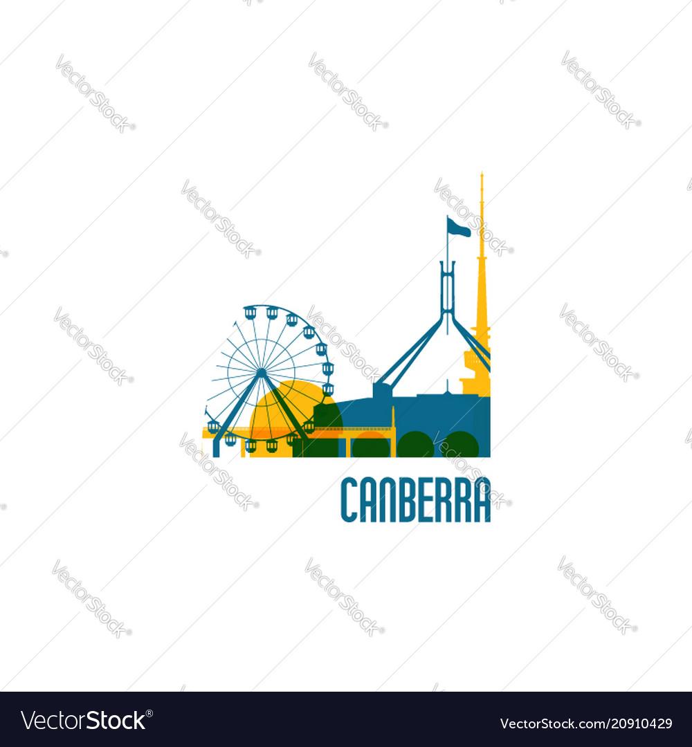 Canberra city emblem colorful buildings