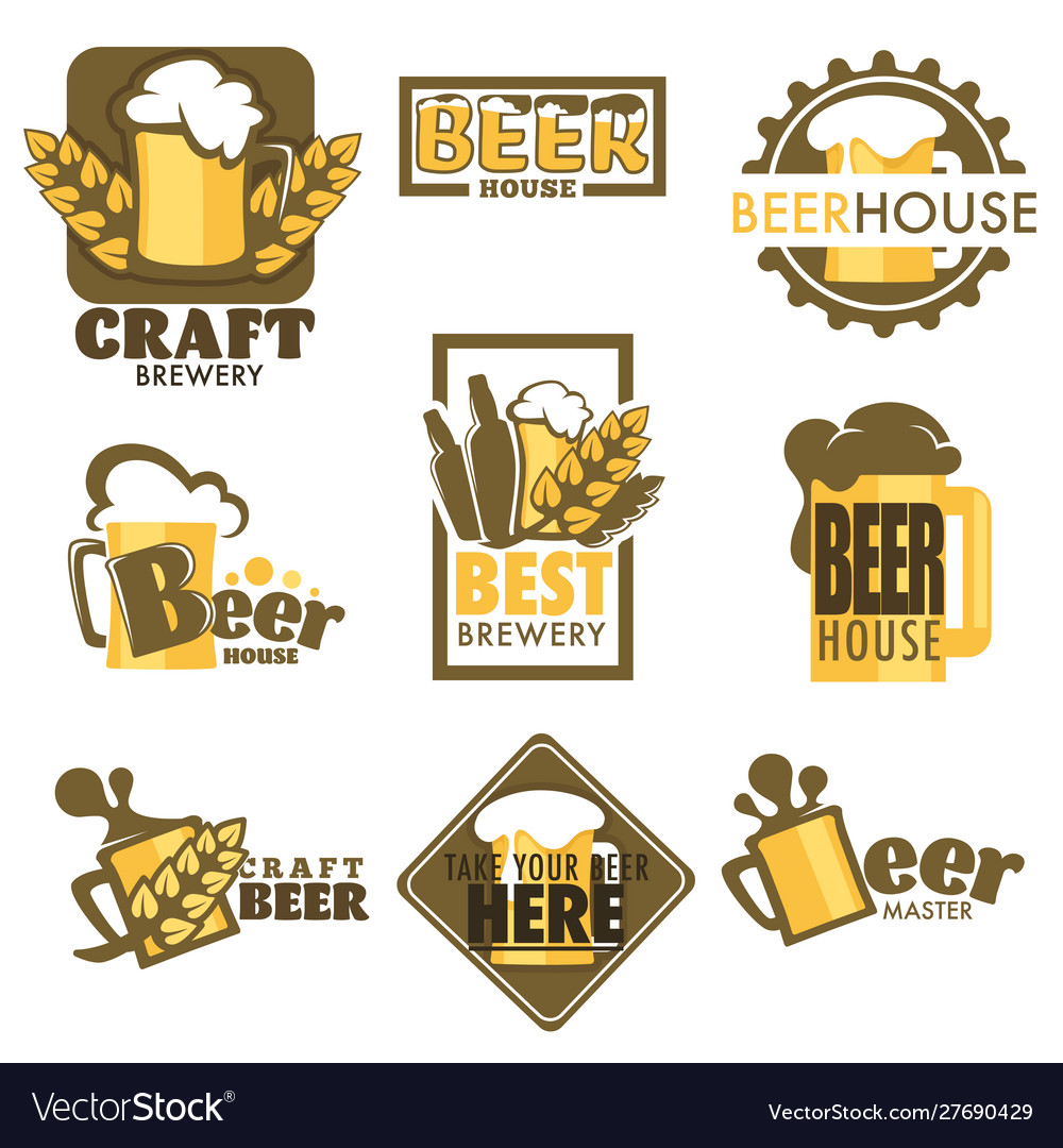 Craft beer isolated icons mug with foam and barley