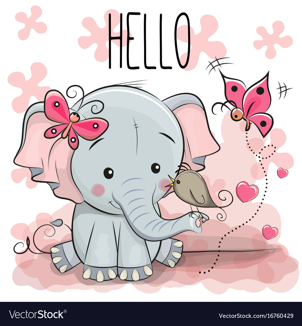 Cute Cartoon Elephant With Bird Royalty Free Vector Image