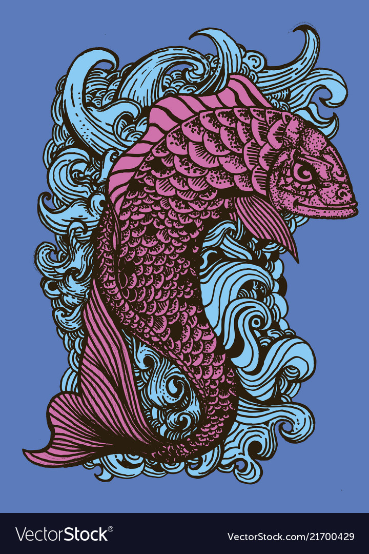 Drawing fish in tattoo style