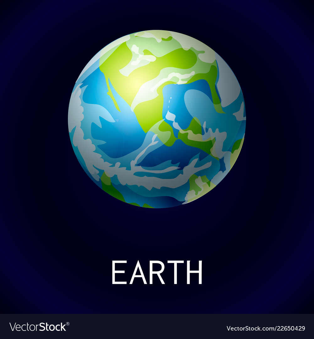 Earth space icon cartoon style