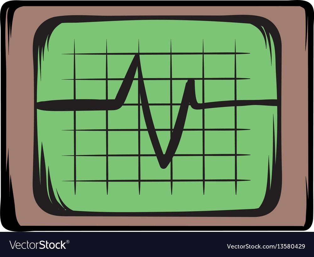 Electrocardiogram monitor icon cartoon