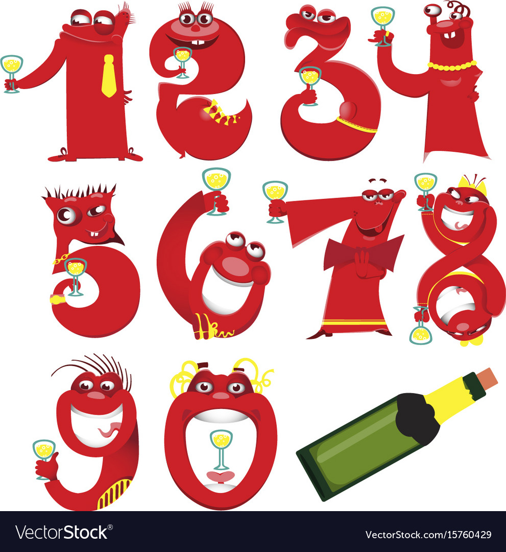 Golden toy balloons and ribbons numerical digit