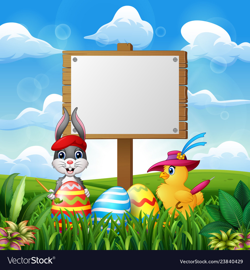 Happy easter bunny and chick with blank sign on th