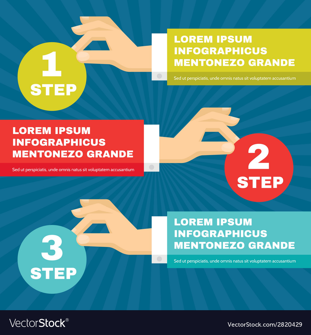 Human Hands with Infographic Round Blocks vector image