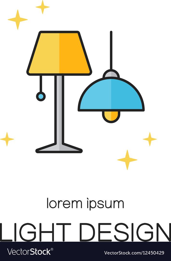 Lighting desigh line icon logo templates